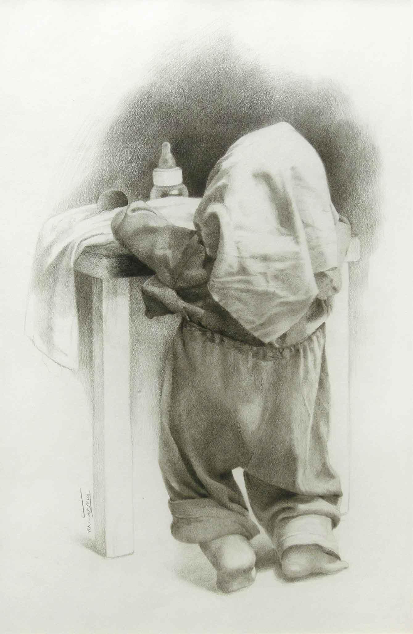 First Efferd, Brown pencil on Paper, 36x40, 2001