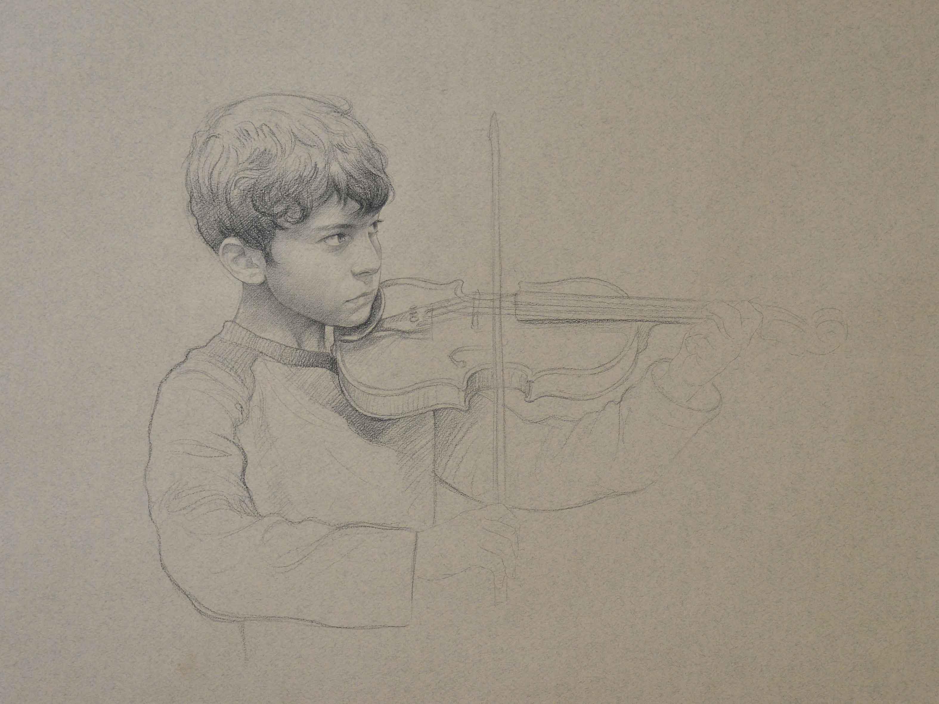 Little Musician, Conte on Paper, 30x40, 2009