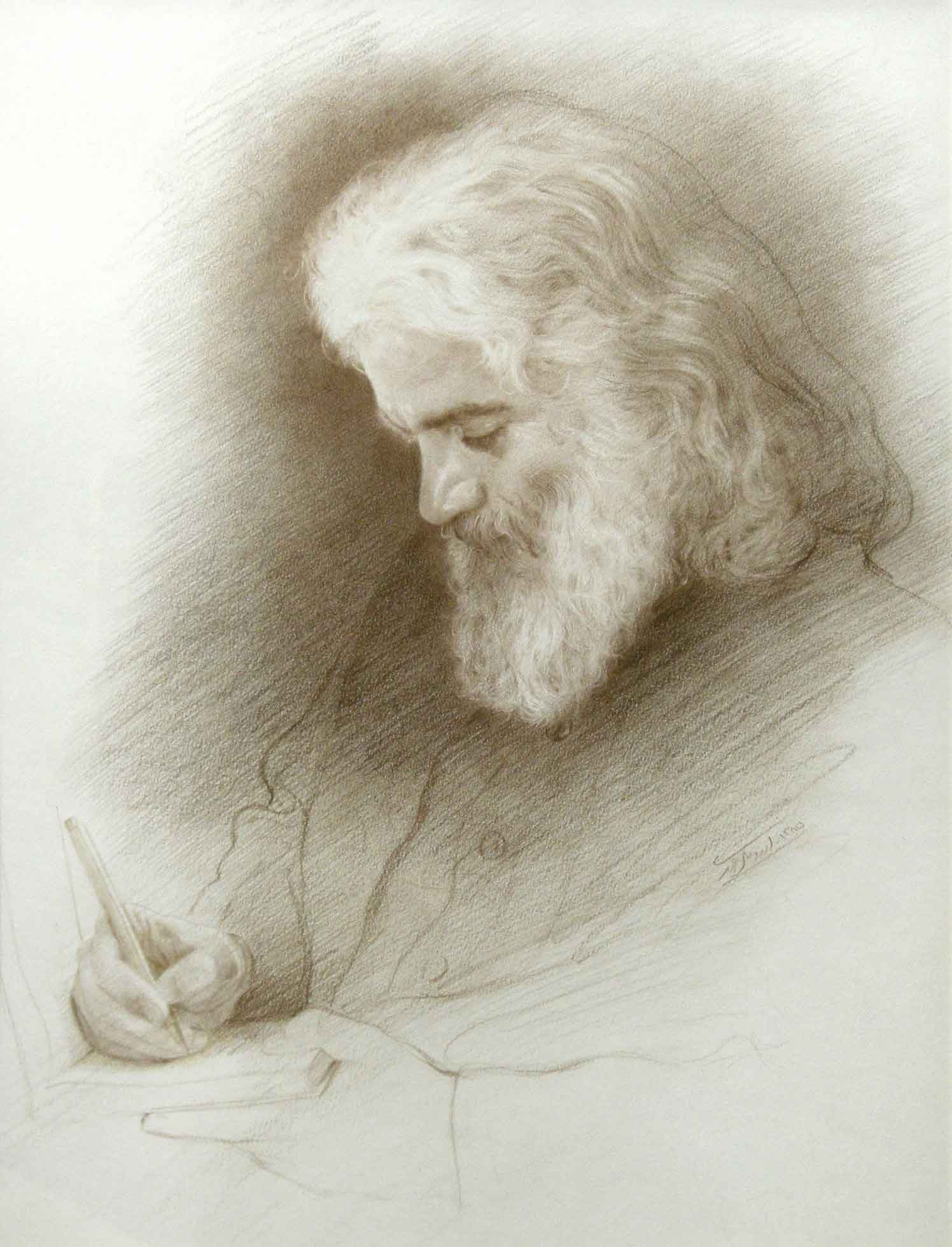 Portrait of Writer, Brown pencil on Paper, 30x40, 2006
